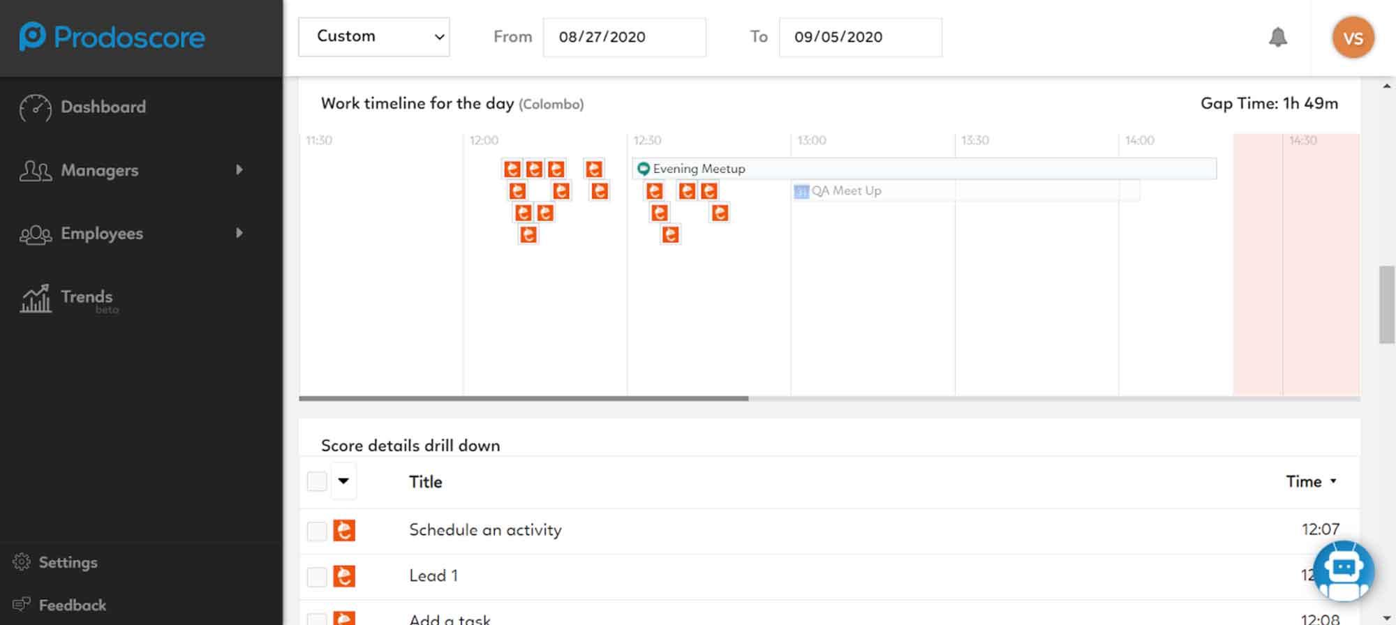 Nutshell integration timeline on Prodoscore Dashboard