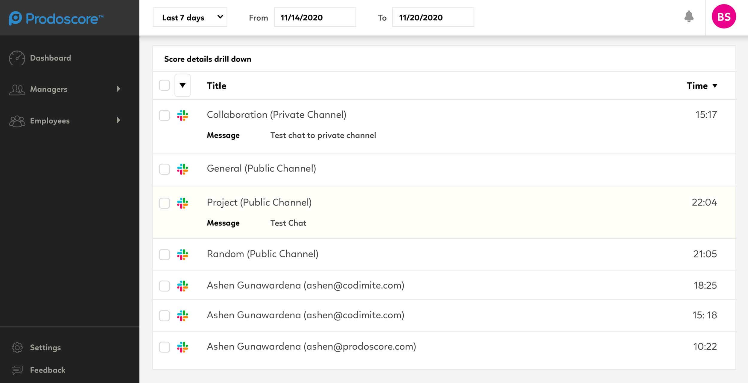 Prodoscore Dashboard - Slack Integration